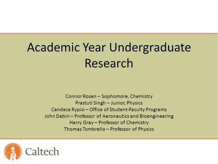 Academic Year Undergraduate Research