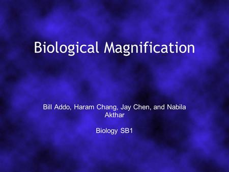Biological Magnification Bill Addo, Haram Chang, Jay Chen, and Nabila Akthar Biology SB1.