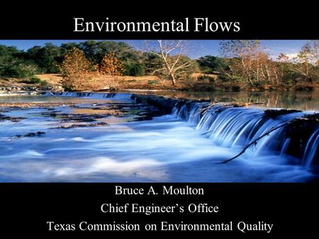 Environmental Flows Bruce A. Moulton Chief Engineer's Office Texas Commission on Environmental Quality.