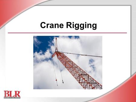 Crane Rigging. © Business & Legal Reports, Inc. 0907 Understand the basics of crane operations Choose the correct sling or rigging hardware Inspect rigging.