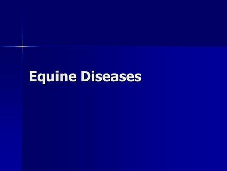 Equine Diseases. Infectious Diseases Infectious Diseases –Broadly categorized as Parasitic Parasitic Bacterial Bacterial Viral Viral Non-infectious diseases.