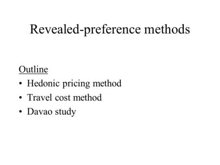 Revealed-preference methods