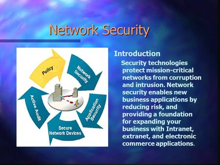 Network Security Introduction Security technologies protect mission-critical networks from corruption and intrusion. Network security enables new business.