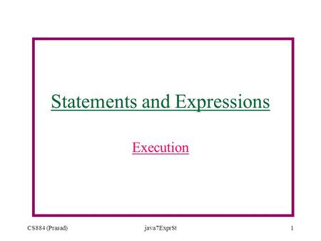 CS884 (Prasad)java7ExprSt1 Statements and Expressions Execution.