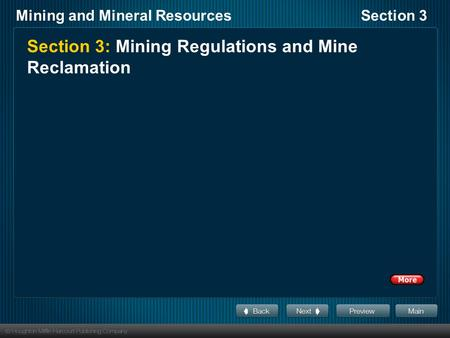 Section 3: Mining Regulations and Mine Reclamation