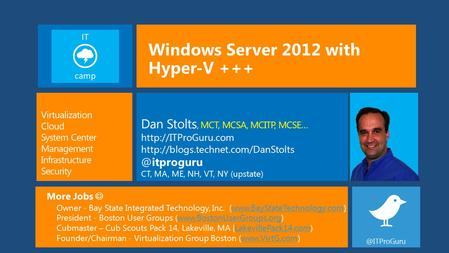Windows Server 2012 with Hyper-V +++ More Jobs Owner - Bay State Integrated Technology, Inc. (www.BayStateTechnology.com)www.BayStateTechnology.com President.