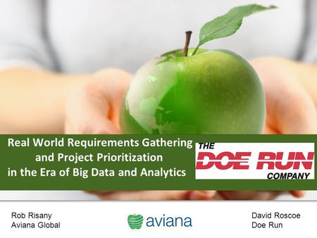 1 Real World Requirements Gathering and Project Prioritization in the Era of Big Data and Analytics Rob Risany Aviana Global David Roscoe Doe Run.