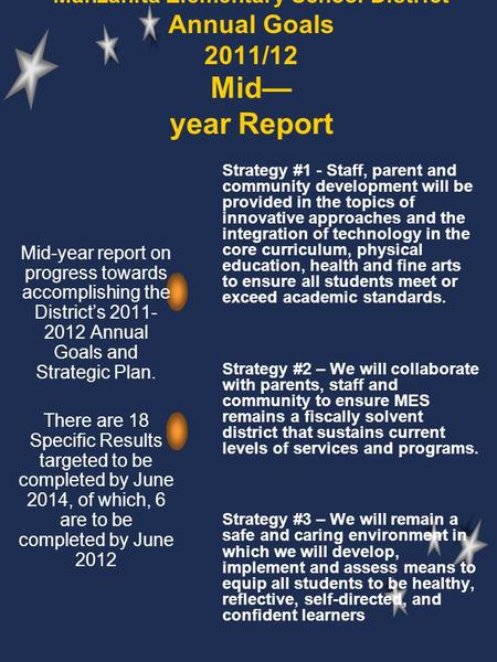 Manzanita Elementary School District Annual Goals 2011/12 Mid— year Report Strategy #1 - Staff, parent and community development will be provided in the.