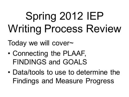 writing process of an iep Developing coherent written products using the writing process: k-12 students  use all aspects of the writing process (eg, plan, organize, write, edit, revise) to.