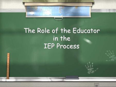 The Role of the Educator in the IEP Process. A Little History… The 70's 1. Public Law 93-112: Section 504 of the Rehabilitation Act of 1973.