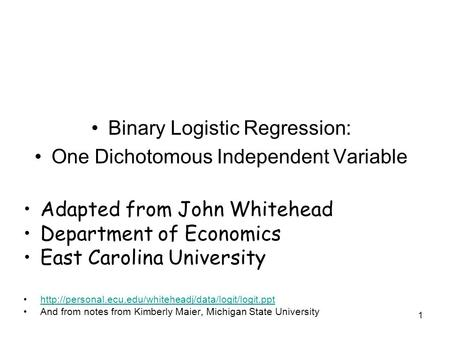 Binary Logistic Regression: One Dichotomous Independent Variable