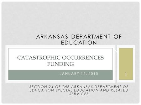 ARKANSAS DEPARTMENT OF EDUCATION SPECIAL EDUCATION NOVEMBER 2014 JANUARY 12, 2015 SECTION 24 OF THE ARKANSAS DEPARTMENT OF EDUCATION SPECIAL EDUCATION.