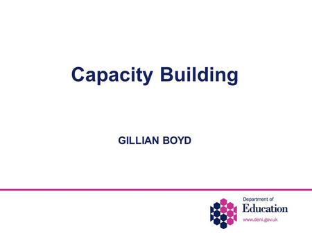 Capacity Building GILLIAN BOYD. Numbers of children with statements in mainstream schools 1996/72.5% of total school population statemented 2000 2.65%