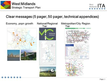West Midlands Strategic Transport Plan Clear messages (5 pager, 50 pager, technical appendices) Economy, popn growth National/Regional Metropolitan/City.