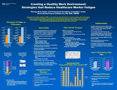 "Creating a Healthy Work Environment: Strategies that Reduce Healthcare Worker Fatigue ""Take a Break"" Program Nursing Best People and Professional Excellence."