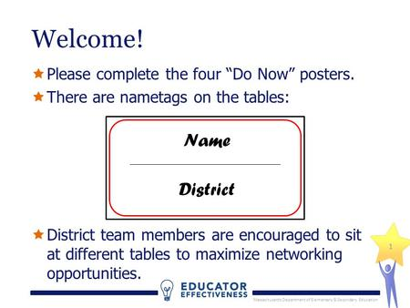 "Massachusetts Department of Elementary & Secondary Education 1 Welcome!  Please complete the four ""Do Now"" posters.  There are nametags on the tables:"