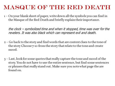 "post reading ""the masque of the red death"" ppt  masque of the red death 1 on your blank sheet of paper write down"