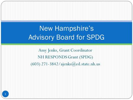 Amy Jenks, Grant Coordinator NH RESPONDS Grant (SPDG) (603) 1 New Hampshire's Advisory Board for SPDG.