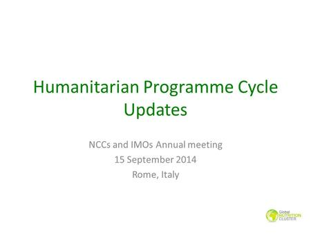 Humanitarian Programme Cycle Updates