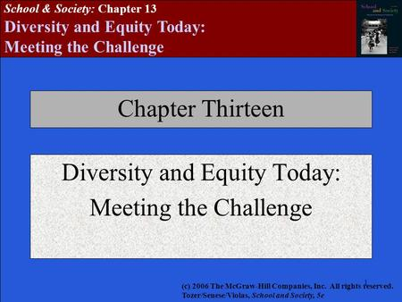 1111111 School & Society: Chapter 13 Diversity and Equity Today: Meeting the Challenge Chapter Thirteen Diversity and Equity Today: Meeting the Challenge.