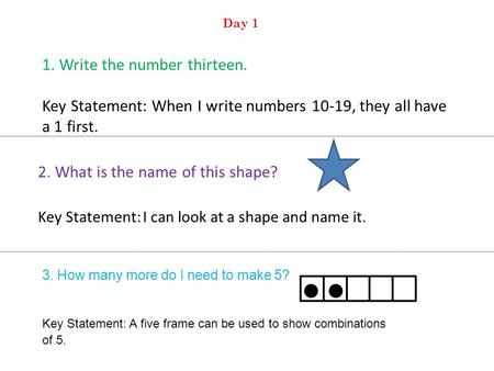 1. Write the number thirteen. Key Statement: When I write numbers 10-19, they all have a 1 first. 2. What is the name of this shape? Key Statement: I can.