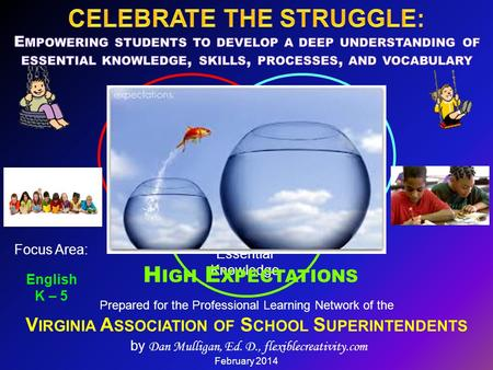 Prepared for the Professional Learning Network of the V IRGINIA A SSOCIATION OF S CHOOL S UPERINTENDENTS by Dan Mulligan, Ed. D., flexiblecreativity.com.