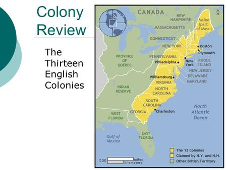 "Colony Review The Thirteen English Colonies. Virginia  Founding of Jamestown (1607) Joint-stock London Company Charter from King James I Too many ""gentlemen"""
