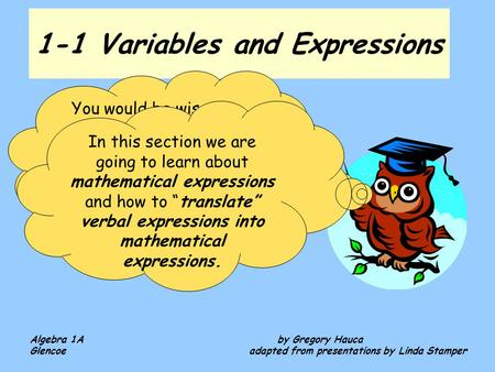 1-1 Variables and Expressions