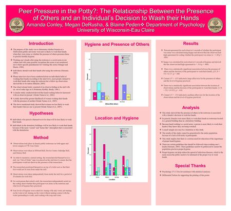 Amanda Conley, Megan DeRusha, & Blaine Peden  Department of Psychology University of Wisconsin-Eau Claire Peer Pressure in the Potty?: The Relationship.