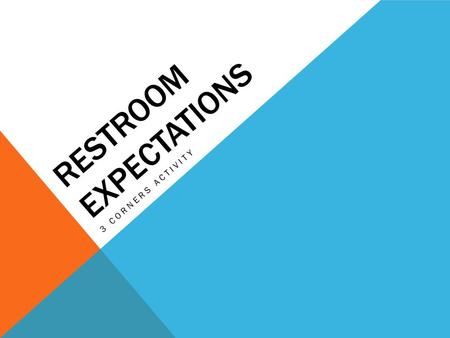 RESTROOM EXPECTATIONS 3 CORNERS ACTIVITY. WHAT RULE DOES THIS EXPECTATION FIT WITH? Use the restroom during passing time.