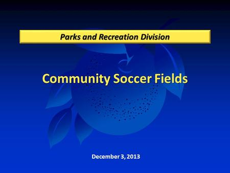 Community Soccer Fields Parks and Recreation Division December 3, 2013.
