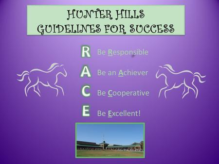 HUNTER HILLS GUIDELINES FOR SUCCESS Be Responsible Be an Achiever Be Cooperative Be Excellent!