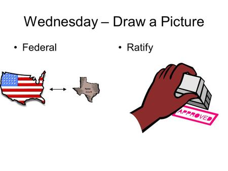 Wednesday – Draw a Picture FederalRatify. We will compare the various compromises that came up during the Philadelphia Convention using a T-chart & notes.