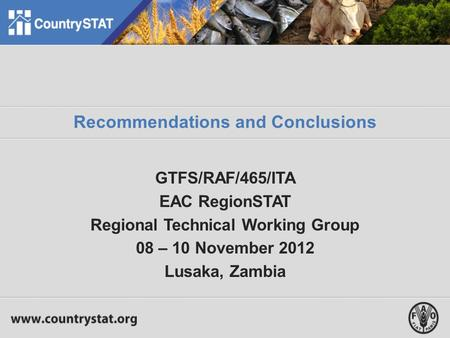 Recommendations and Conclusions GTFS/RAF/465/ITA EAC RegionSTAT Regional Technical Working Group 08 – 10 November 2012 Lusaka, Zambia.