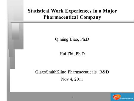 1 Statistical Work Experiences in a Major Pharmaceutical Company Qiming Liao, Ph.D Hui Zhi, Ph.D GlaxoSmithKline Pharmaceuticals, R&D Nov 4, 2011.
