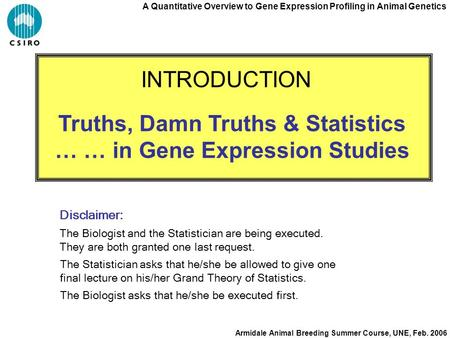 A Quantitative Overview to Gene Expression Profiling in Animal Genetics Armidale Animal Breeding Summer Course, UNE, Feb. 2006 Truths, Damn Truths & Statistics.