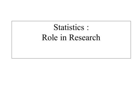 Statistics : Role in Research. Statistics: A collection of procedures and processes to enable researchers in the unbiased pursuit of Knowledge Statistics.