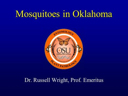 Mosquitoes in Oklahoma Dr. Russell Wright, Prof. Emeritus.