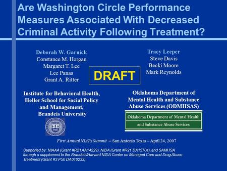 Are Washington Circle Performance Measures Associated With Decreased Criminal Activity Following Treatment? Deborah W. Garnick Constance M. Horgan Margaret.