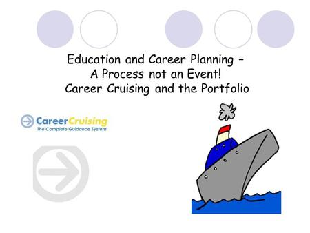 Education and Career Planning – A Process not an Event! Career Cruising and the Portfolio.