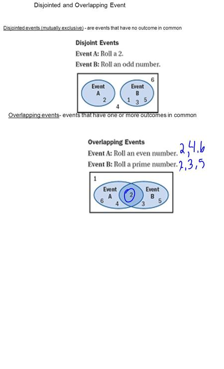 Disjointed and Overlapping Event Disjointed events (mutually exclusive) - are events that have no outcome in common Overlapping events- events that have.