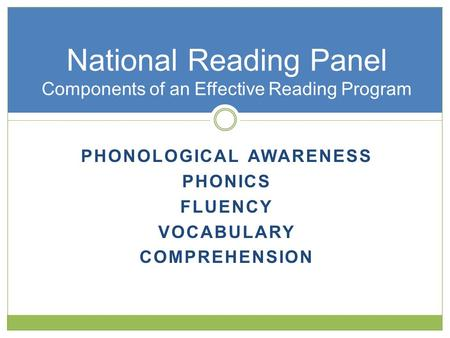 PHONOLOGICAL AWARENESS PHONICS FLUENCY VOCABULARY COMPREHENSION National Reading Panel Components of an Effective Reading Program.