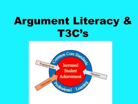 Argument Literacy & T3C's. Argument Writing from Text CCR.W.1 College and Career Ready Writing; Text Types and Purposes: 1 Write arguments to support.