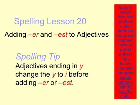 Spelling Lesson 20 Adding –er and –est to Adjectives hungry happy heaviest prettier uglier prettiest hungriest happier heavier pretty ugliest ugly heavy.