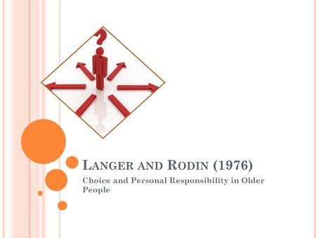L ANGER AND R ODIN (1976) Choice and Personal Responsibility in Older People.