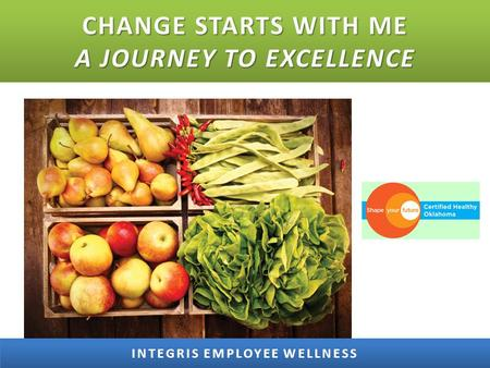 CHANGE STARTS WITH ME A JOURNEY TO EXCELLENCE. THE INTEGRIS WELLNESS JOURNEY TIMELINE INTEGRIS EMPLOYEE WELLNESS 1978 PACER Fitness Center 1994 Begin.