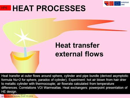 Heat transfer external flows Rudolf Žitný, Ústav procesní a zpracovatelské techniky ČVUT FS 2010 HEAT PROCESSES HP6 Heat transfer at outer flows around.