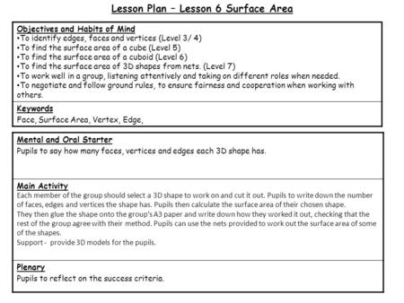 Lesson Plan – Lesson 6 Surface Area Mental and Oral Starter Pupils to say how many faces, vertices and edges each 3D shape has. Main Activity Each member.