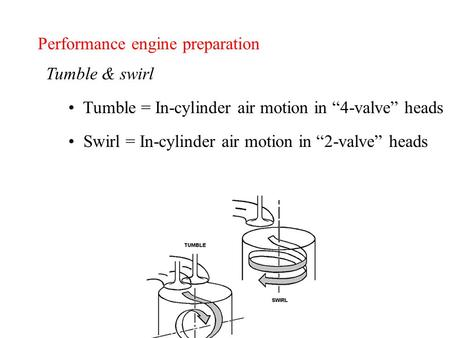 "Performance engine preparation Tumble & swirl Tumble = In-cylinder air motion in ""4-valve"" heads Swirl = In-cylinder air motion in ""2-valve"" heads."