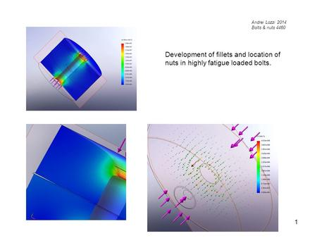 1 Development of fillets and location of nuts in highly fatigue loaded bolts. Andrei Lozzi 2014 Bolts & nuts 4460.